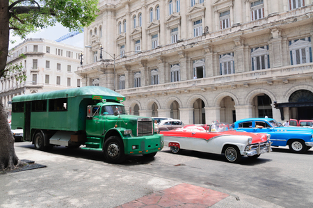 converted: Truck GMC, converted into a passenger bus. Buses of this type - the main form of transport in Cuba. HABANA CUBA - 30 July1 2015.