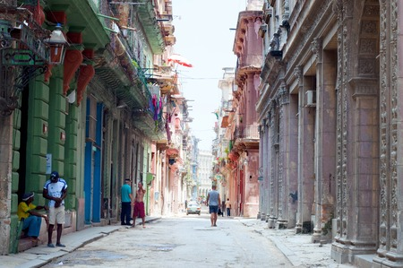 neglected: Neglected old buildings in old Havana. CUBA - August 2, 2015.