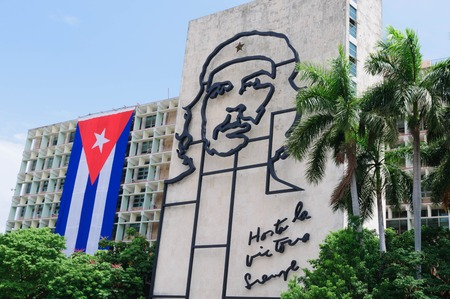 rebellion: Steel outline of revolutionary Che Guevaras face aside the Ministry of the Interior building in Revolution Square. Symbol of rebellion. HABANA CUBA - 30 July1 2015.