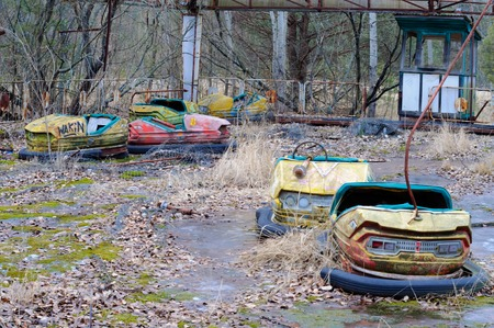 nuclear reactor: Playground in Pripyat - abandoned city near Chernobyl nuclear reactor. Whole city was abandoned after nuclear disaster on 26.04.1986