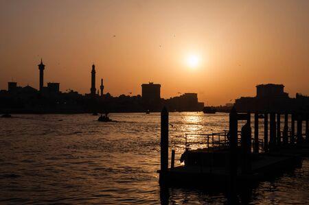 bur dubai: Old Dubai Abra Creek in evening, Dubai United Arab Emirates