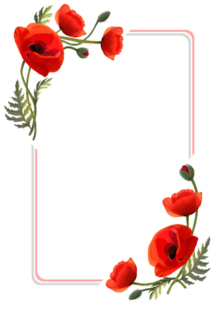 Frame with flowers. Red poppies. Greeting card
