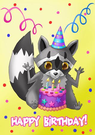Happy Birthday Card. Raccoon with a cake.