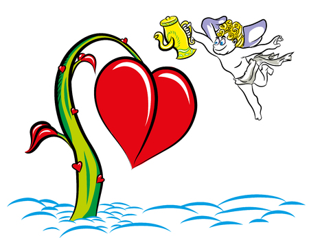 Cupid giving water to flowers. Plants look like heart symbol. Valentines day postcard. Love and grow up plants concept. Flying cupid and valentines day