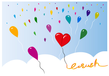 Crush Couple in love Couple in love. Illustration symbolized with balloons. illustration of heart with balloons.