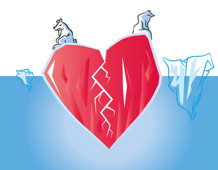 Unhappy Broken heart in poles (love concept) Symbolized heart Iceberg in Ocean with polar bears. Çizim