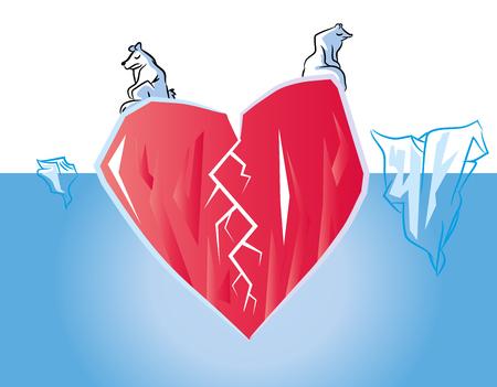 Unhappy Broken heart in poles (love concept) Symbolized heart Iceberg in Ocean with polar bears. Stock Illustratie