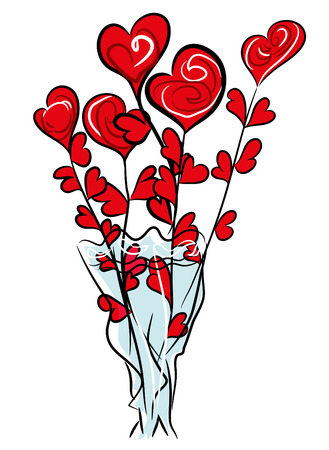 Roses and hearts illustration Roses with white background