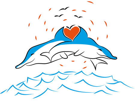 illustration of dolphins and love Two dolphins with one heart in the ocean Çizim