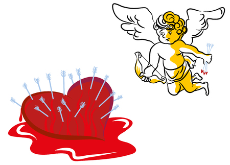 Love does not hurt. Loving the wrong person does.Wrong person in love. Unhappy cupid vector illustration