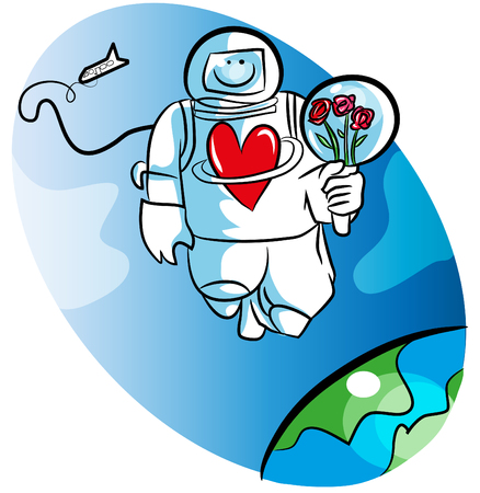 Cartoon space man and love. illustration of astronaut waiting for his darling. Space man or astronaut holding roses in the space.  イラスト・ベクター素材