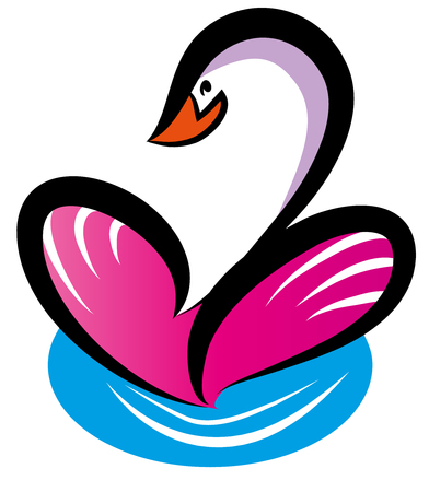 Beautiful swan swimming on the lake Swans wings shape heart symbol. This illustration is useful for valentines day or love concept Çizim