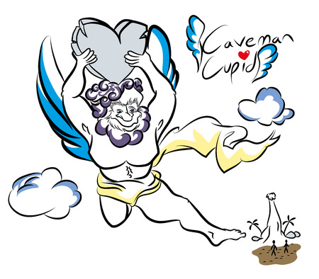 Caveman cupid illustration of cupid character in the first era. Funny postcard for valentines day.