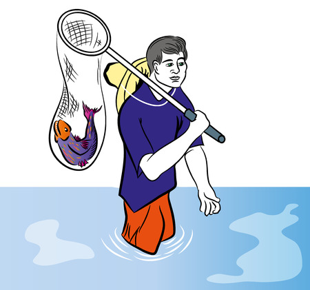 Fisherman with net and fish icon Illustration