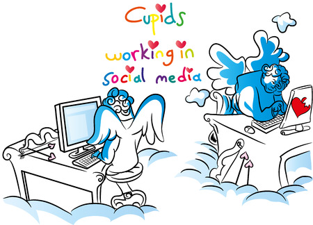 Cupids working in social media illustration. Çizim