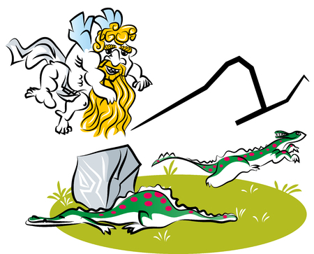 Funny cartoon of caveman cupid. Caveman cupid throwing rock to dinosaur.