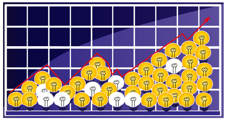 More idea more successful. Successful increasing graph. Light bulb idea, ideas and creativty.