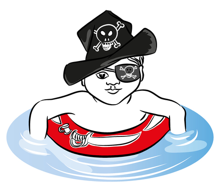 Pirate boy Pirate boy swimming with rubber ring in the sea. Pirate boy with rubber ring and hat. Illusztráció