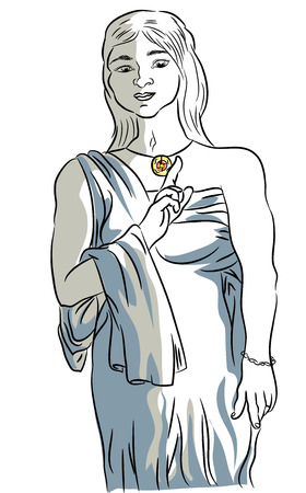 Ancient Roman woman costume, illustration of woman with an ancient roman costume.