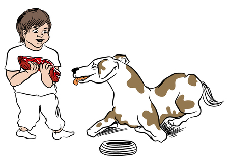 Child giving meal to dog. Dog waiting for a big piece of steak. Boy love his pet. illustration of pet and child.