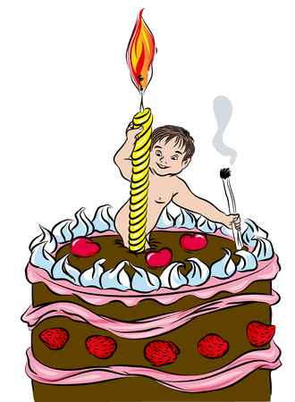 First birthday cake. Happy Birthday Cake with Candle and baby. Isolated on white background. illustration of first birthday postcard.