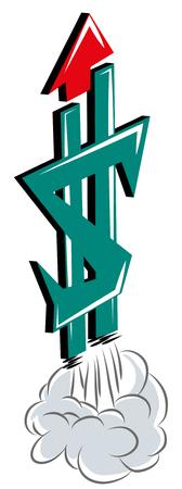 Fintech, financial technology innovation concept. Fintech concept financial technology illustration. Space ship shaped dollar symbol. Stok Fotoğraf - 102094148