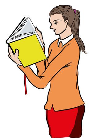 Girl reading a bestseller book. Standing girl reading a book. Young girl reading excited book. Learning new informations.