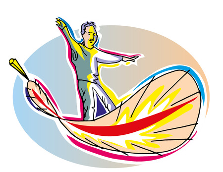 The men in the feather. A men flying in the feather.Sky background. illustration of freedom concept.