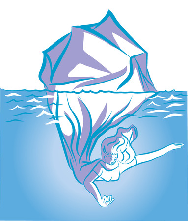 Soul of woman. iceberg in the ocean symbolized with deep soul of woman. An illustration of mood of woman in the poles. Çizim