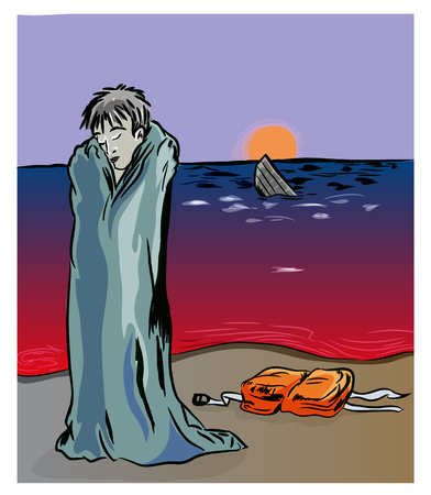 Civil war in Syria and refugees problem. Unhappy Syrian refugee on the coastline. Syrian refugee and sinking boat. Stok Fotoğraf - 102635828