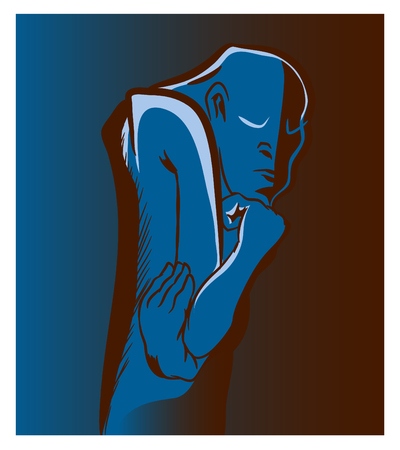 Thinker man. Standing thinker man thinking. An illustration of abstract thinking man. Stok Fotoğraf - 102635831