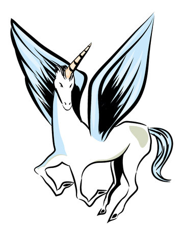 Flying unicorn. Flying unicorn with big wings. Unicorn isolated with white background. Çizim