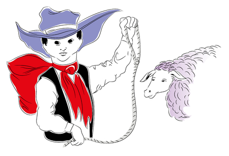 Cowboy kid. Cowboy kid with lasso. illustration of cowboy child in the farm. Sheep and cowboy kid. Stok Fotoğraf - 102635837