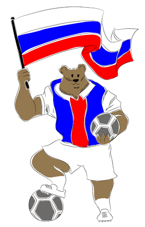 mascot russian. Russian bear soccer mascot. Football tournament 2018. logo for the summer soccer championship. Stok Fotoğraf - 102635839