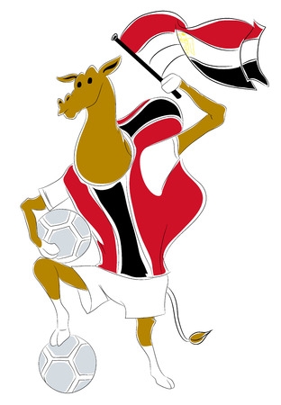 mascot egypt. Egyptian camel soccer mascot. Football tournament 2018. logo for the summer soccer championship. Çizim