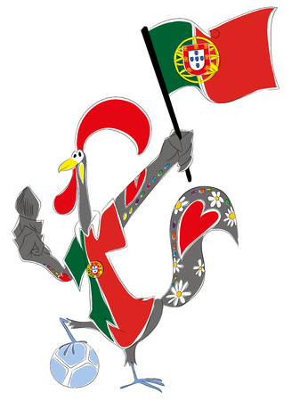 mascot portugal Portuguese rooster soccer mascot. Football tournament 2018. logo for the summer soccer championship. Stok Fotoğraf - 102635840