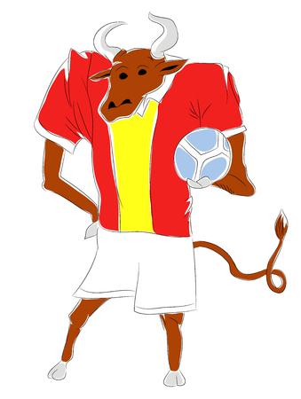 mascot spain Spanish bull soccer mascot. Football tournament 2018. logo for the summer soccer championship. Stok Fotoğraf - 102635863