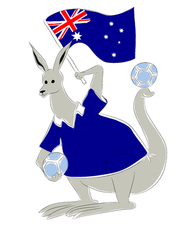mascot Australia. Australian kangaroo soccer mascot. Football tournament 2018. logo for the summer soccer championship. Stok Fotoğraf - 102635866