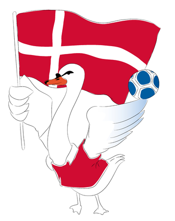 mascot Denmark. Danish Swan soccer mascot. Football tournament 2018. logo for the summer soccer championship. Stok Fotoğraf - 102635868