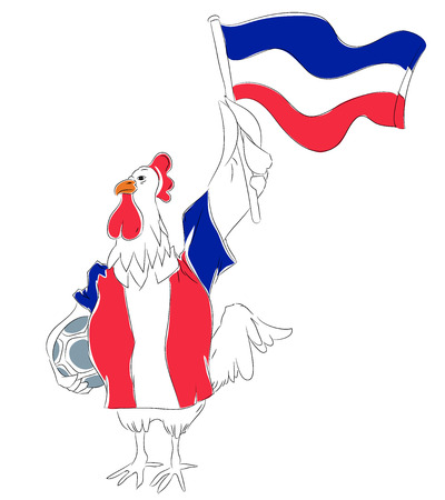mascot France. French rooster soccer mascot. Football tournament 2018. logo for the summer soccer championship. Çizim