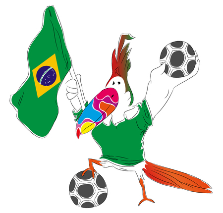 Mascot Championship for Brasil Parrot mascot for football tournament Russia. Stok Fotoğraf - 102635898