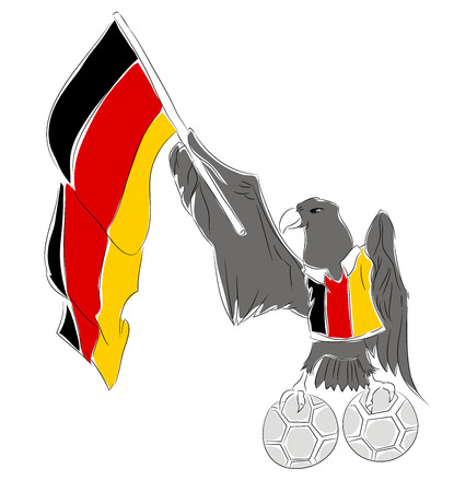 Mascot Championship for Germany. Eagle mascot for football tournament Russia. Stok Fotoğraf - 102635931