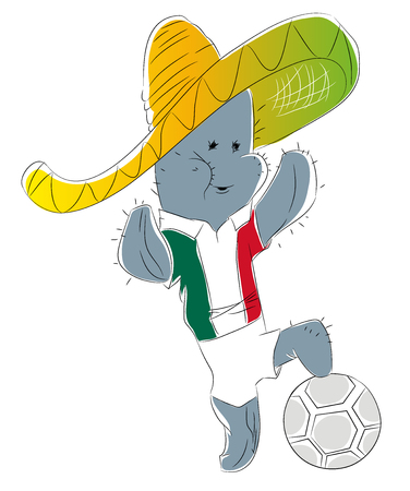 Mascot Championship for Mexico. Cactus mascot for football tournament Russia. Stok Fotoğraf - 102635981