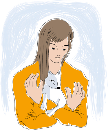 Girl and tiny dog. Girl hugging every dog. illustration of pets and animal lovers.