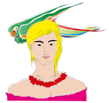 Girl and parrot. Parrot on the girl head. Isolated on white background.