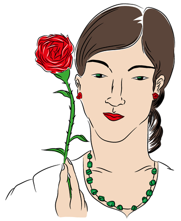 Woman and rose. Woman holding a red rose. Isolated on white background.