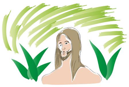 Head of Tarzan. illustration of Tarzan looking at us with plant leaf background.