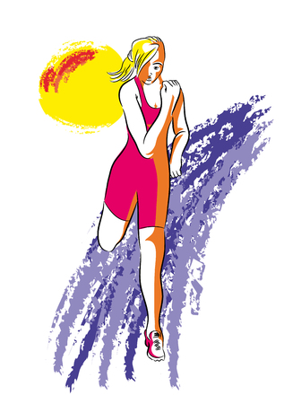 Marathon runner girl. Beautiful blond girl runner training for long marathon. Ilustracja