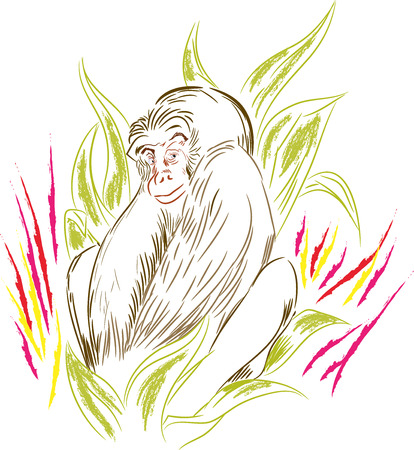 Tiny gorilla. Sitting gorilla in the leafs. illustration of monkey in the jungle.
