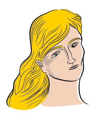 Pensive blond woman. Pensive woman dreaming when she eyes open.